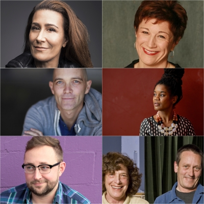 SLAC's 17-18 Season Playwrights: (Top) Jeanine Tesori, Lisa Kron, (Middle) Taylor Mac, Chisa Hutchinson, (Bottom) Steve Yockey, Nancy Borgenicht, Allen Nevins