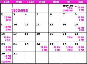 Pinkalicious Website Performance Calendar 1