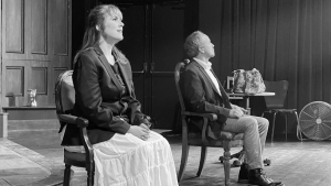 Stacey Jenson and Paul Mulder rehearse a scene from Lucas Hnath's A DOLL'S HOUSE, PART 2